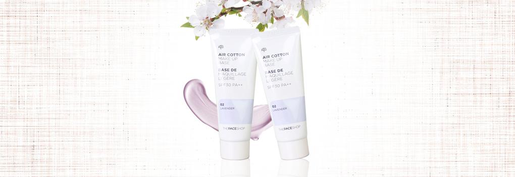 [แพ็คคู่] The Face Shop Air Cotton Make Up Base SPF30 PA++ #02 Lavender [35ml x 2pcs]