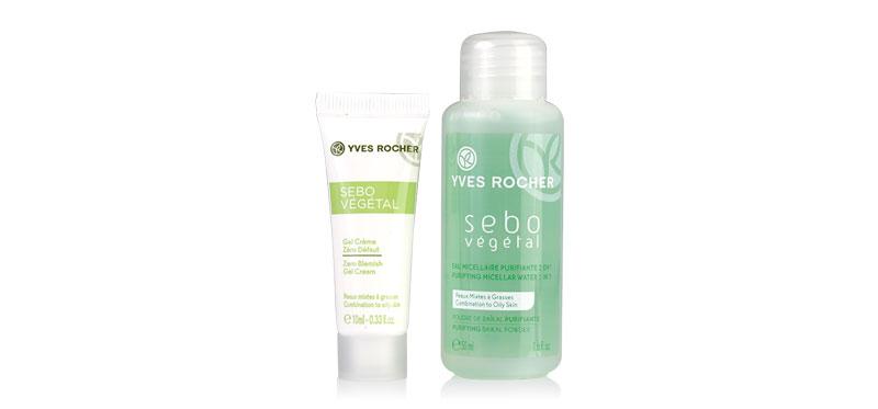 Yves Rocher Sebo Vegetal Travel Set 2 Items (Zero Blemish Gel Cream 10ml + Purifiying Micellar Water 50ml)(Not Free Shipping)