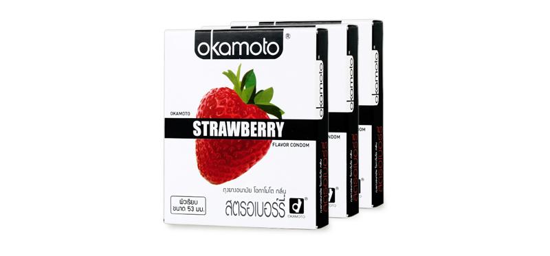 Okamoto Strawberry Flavor Condom 53mm (2pcsx3boxes)