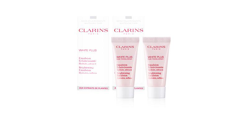 แพ็คคู่ Clarins White Plus Brightening Emulsion Hydrates, Softens (5mlx2pcs)