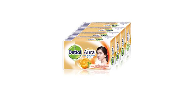 Dettol Barsoap Aura Mandarin Orange (125g x 4pcs) ( สินค้าหมดอายุ : 2022.06 )