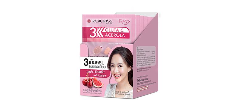 Rojukiss 3 Gluta C Acerola [3 Tablets x 6 Sachets]