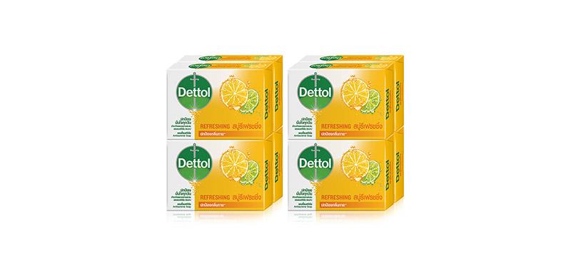 [แพ็คคู่] Dettol Anti-Bacterial Soap Refreshing [65g x 8pcs]
