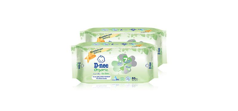 [แพ็คคู่] D-nee Organic Baby Wipe [80 Sheets x 2pack]