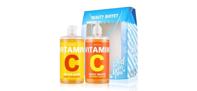 Beauty Buffet Set 2 Items Scentio Vitamin C [After Bath Body Essence 450ml + Shower Serum 450ml]