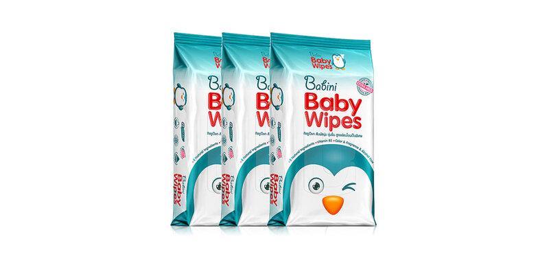 [แพ็คสาม] Babini Baby Wipes [80 Sheets x 3pcs] ( สินค้าหมดอายุ : 2022.04 )