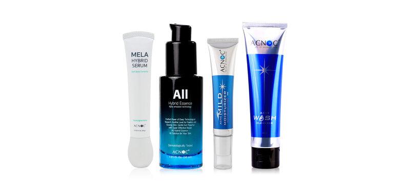 Acnoc Set 4 Items Wash Cleanser 100g + Mild Moisturizer 40g + All Hybrid Essence 30ml + Mela Hybrid Serum 20g ( สินค้าหมดอายุ : 2022.05 )