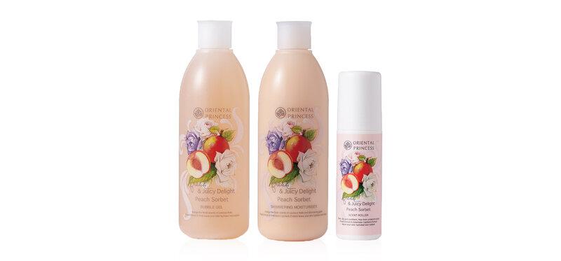 Oriental Princess Set 3 Items Peach Sorbet Bubble Gel 250ml + Shimmering Moisturiser 250ml + Scent Roller 70ml