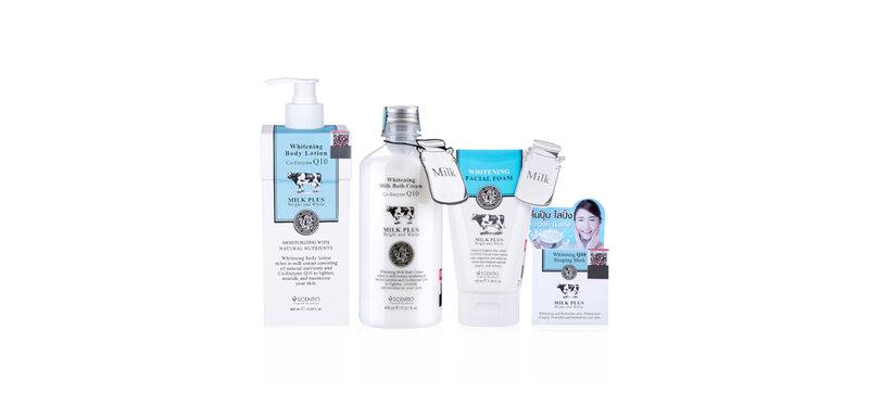 Beauty Buffet Set 4 Items Scentio Milk Plus [Lotion 400ml + Shower Cream 450ml + Facial Foam 100ml + Sleeping Mask 50ml]