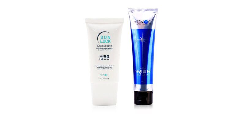 Acnoc Set 2 Items Sun Lock Aqua Soothe SPF50/PA++++ 50g + Acne Wash Cleanser 100g