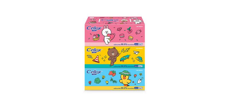 [แพ็คสาม] Cellox Line Friend Box [140 Sheets x 3pcs]