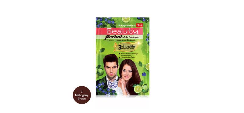 Caring Beauty Herbal Color Shampoo 30ml #3Mahogany Brown