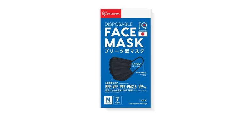 IRIS OHYAMA Disposable Face Mask Size M #Black [7pcs]